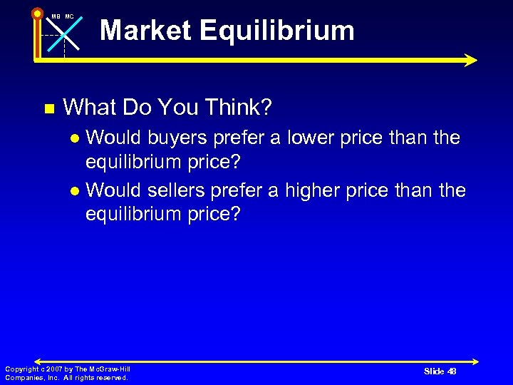 MB MC n Market Equilibrium What Do You Think? Would buyers prefer a lower