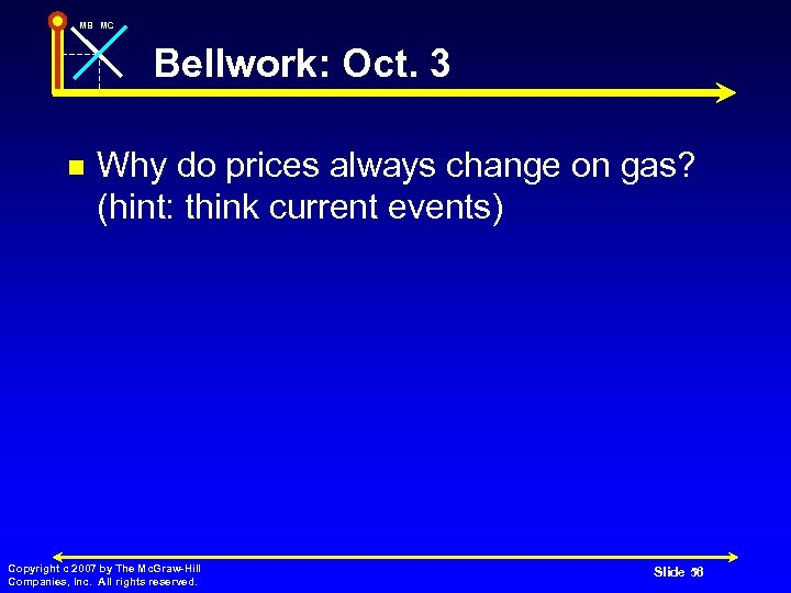 MB MC Bellwork: Oct. 3 n Why do prices always change on gas? (hint: