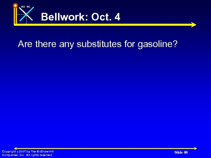MB MC Bellwork: Oct. 4 Are there any substitutes for gasoline? Copyright c 2007