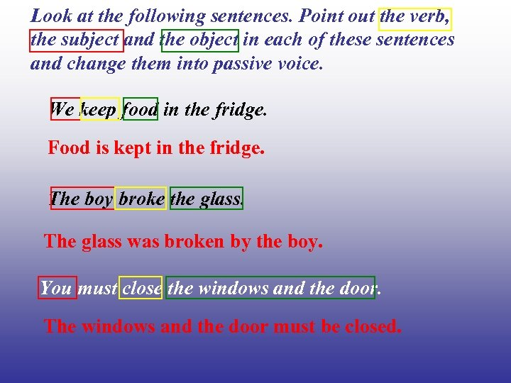 Look at the following sentences. Point out the verb, the subject and the object