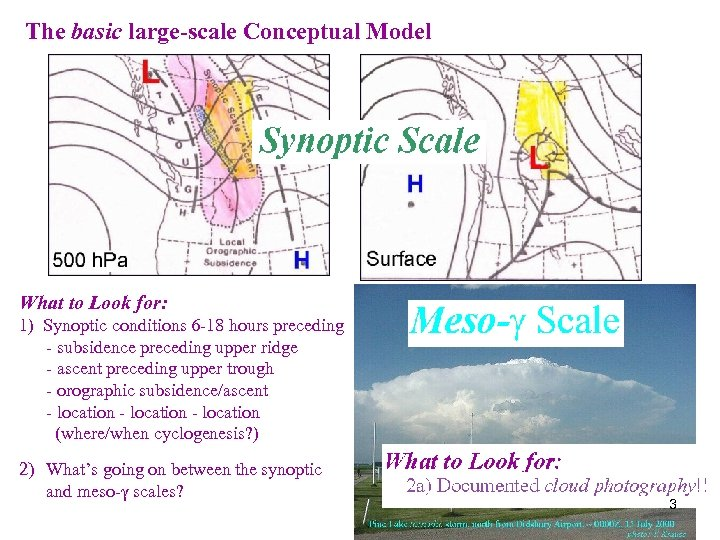 The basic large-scale Conceptual Model What to Look for: 1) Synoptic conditions 6 -18