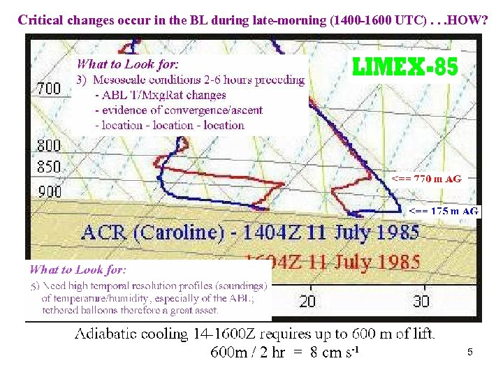 Critical changes occur in the BL during late-morning (1400 -1600 UTC). . . HOW?