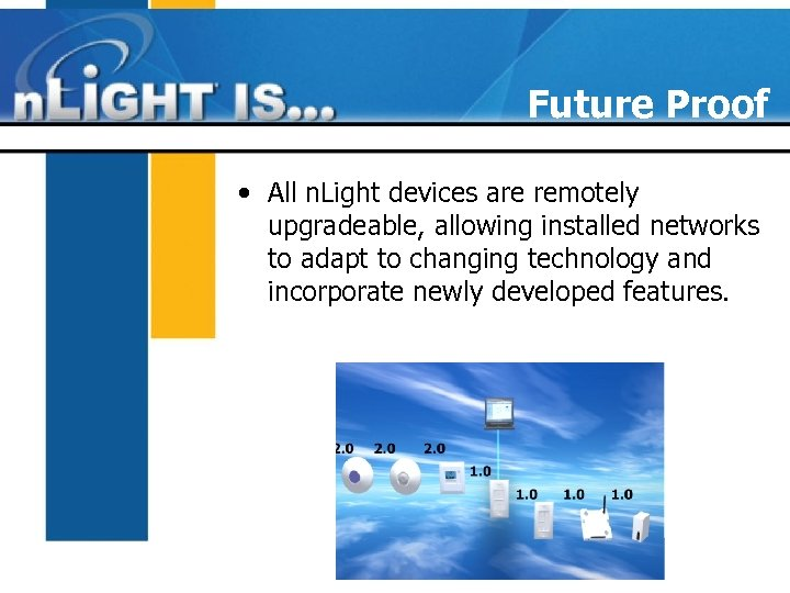 Future Proof • All n. Light devices are remotely upgradeable, allowing installed networks to