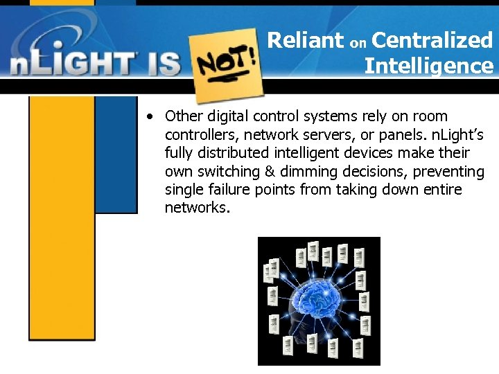 Reliant on Centralized Intelligence • Other digital control systems rely on room controllers, network