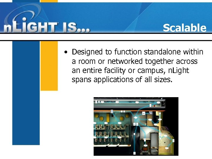 Scalable • Designed to function standalone within a room or networked together across an