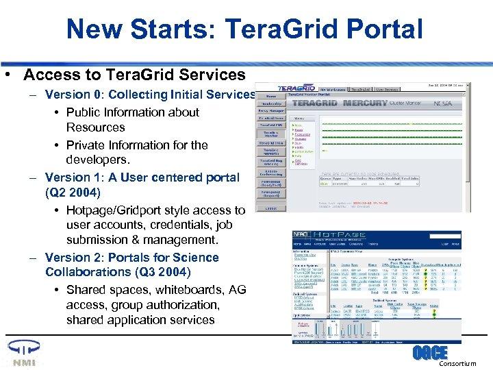 New Starts: Tera. Grid Portal • Access to Tera. Grid Services – Version 0: