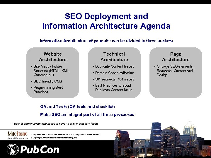 SEO Deployment and Information Architecture Agenda Information Architecture of your site can be divided