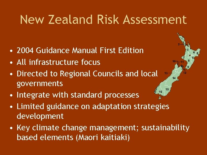 New Zealand Risk Assessment • 2004 Guidance Manual First Edition • All infrastructure focus