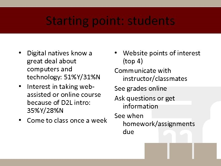Starting point: students • Digital natives know a great deal about computers and technology:
