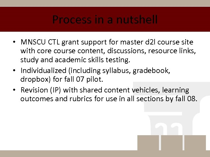 Process in a nutshell • MNSCU CTL grant support for master d 2 l