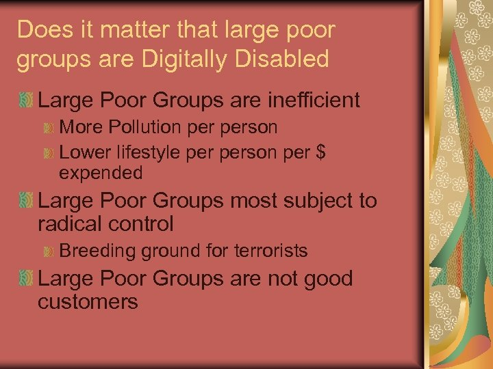 Does it matter that large poor groups are Digitally Disabled Large Poor Groups are