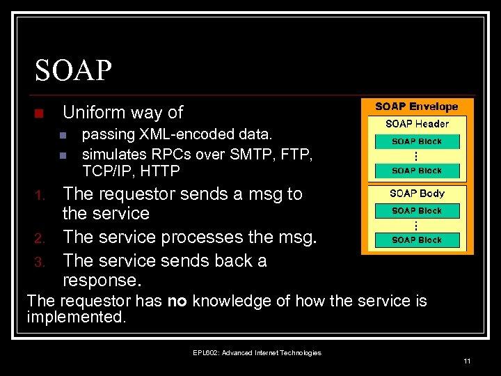 SOAP n Uniform way of n n 1. 2. 3. passing XML-encoded data. simulates