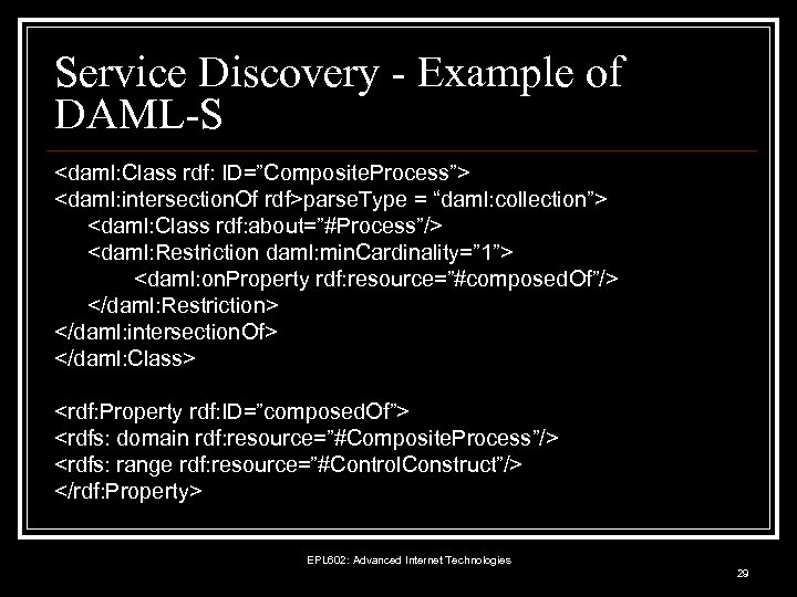 """Service Discovery - Example of DAML-S <daml: Class rdf: ID=""""Composite. Process""""> <daml: intersection. Of"""