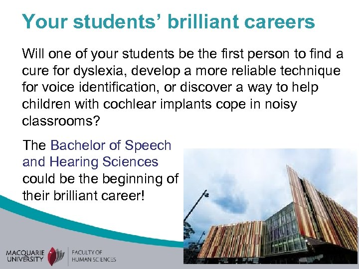 Your students' brilliant careers Will one of your students be the first person to