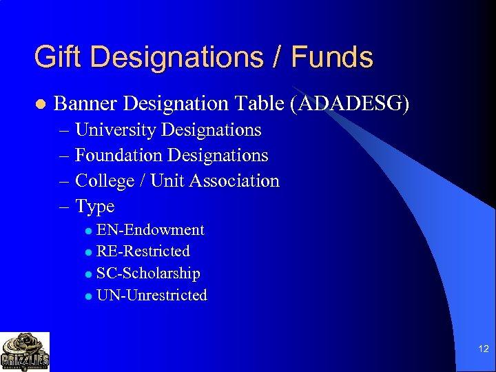 Gift Designations / Funds l Banner Designation Table (ADADESG) – University Designations – Foundation