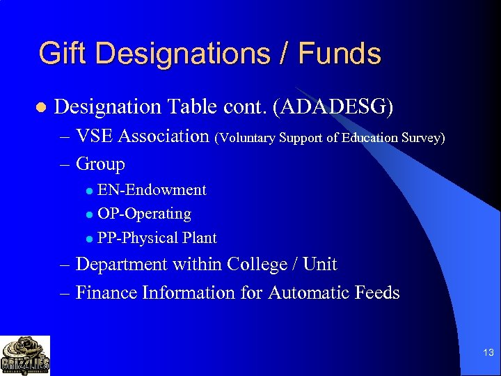 Gift Designations / Funds l Designation Table cont. (ADADESG) – VSE Association (Voluntary Support