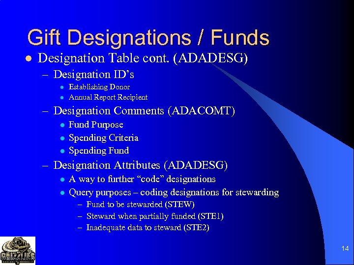 Gift Designations / Funds l Designation Table cont. (ADADESG) – Designation ID's l l