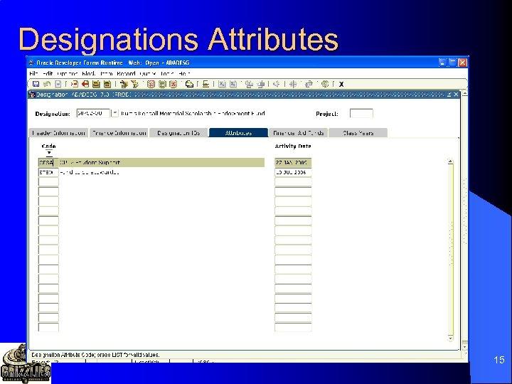 Designations Attributes 15
