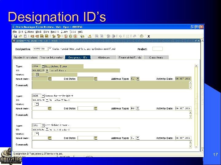 Designation ID's 17