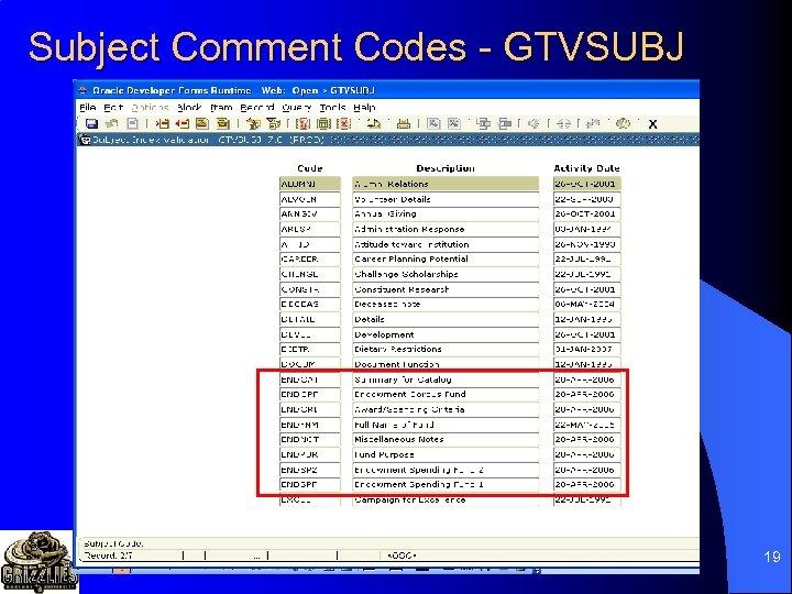 Subject Comment Codes - GTVSUBJ 19
