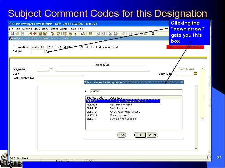"""Subject Comment Codes for this Designation Clicking the """"down arrow"""" gets you this box"""