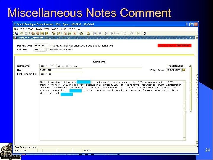 Miscellaneous Notes Comment 24