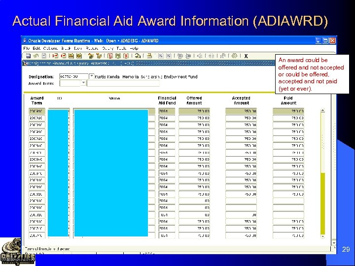 Actual Financial Aid Award Information (ADIAWRD) An award could be offered and not accepted