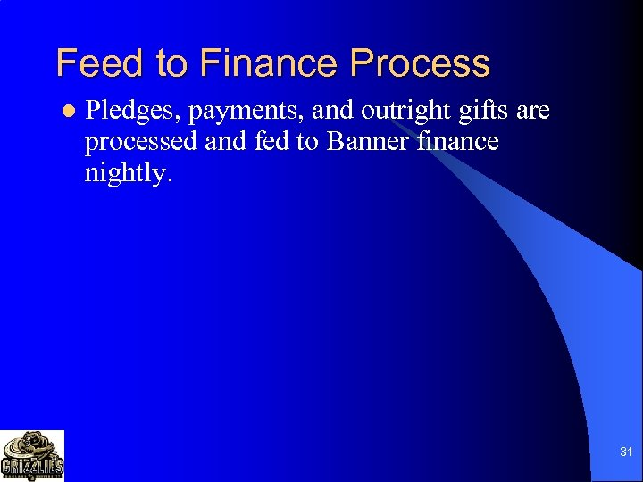 Feed to Finance Process l Pledges, payments, and outright gifts are processed and fed
