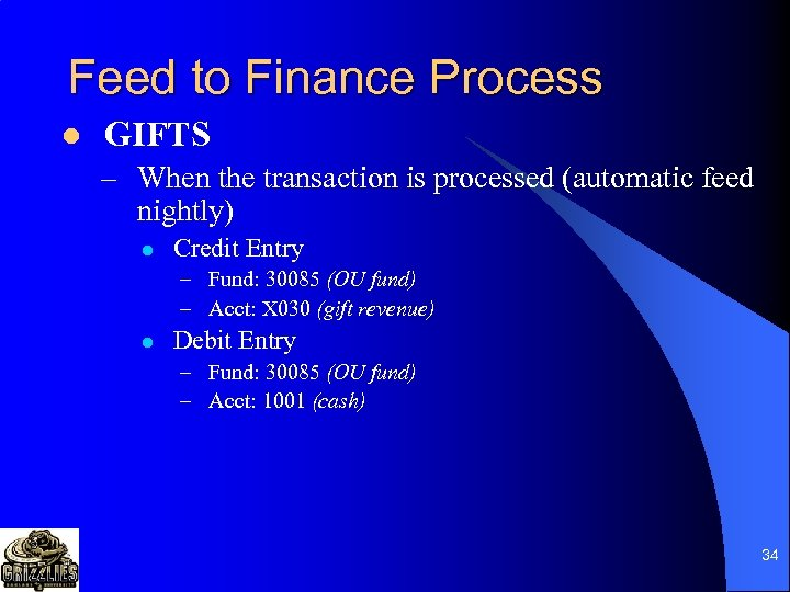 Feed to Finance Process l GIFTS – When the transaction is processed (automatic feed