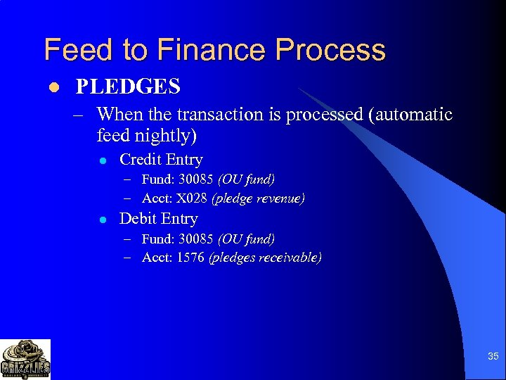 Feed to Finance Process l PLEDGES – When the transaction is processed (automatic feed