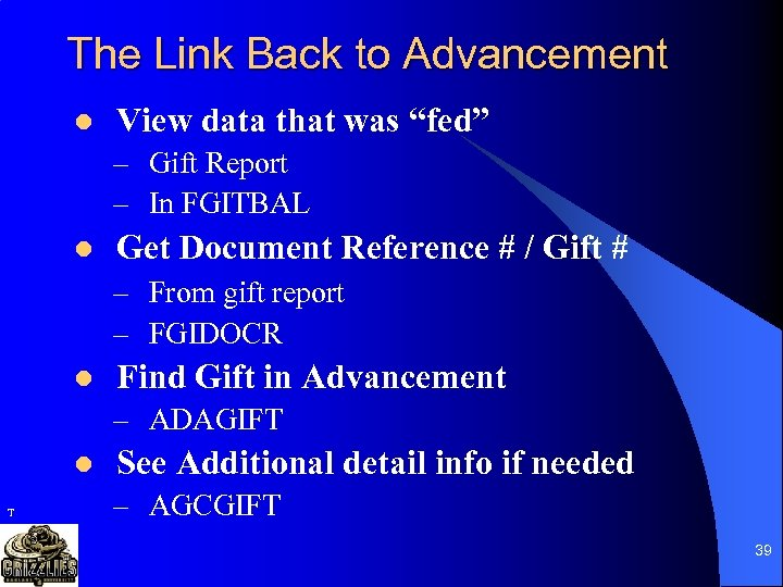 """The Link Back to Advancement l View data that was """"fed"""" – Gift Report"""