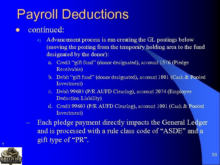 Payroll Deductions l continued: 4) Advancement process is run creating the GL postings below