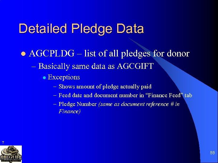 Detailed Pledge Data l AGCPLDG – list of all pledges for donor – Basically