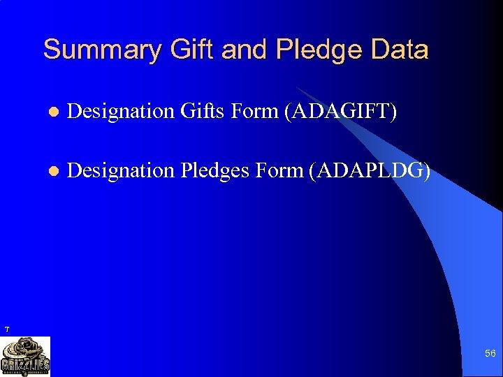 Summary Gift and Pledge Data l Designation Gifts Form (ADAGIFT) l Designation Pledges Form