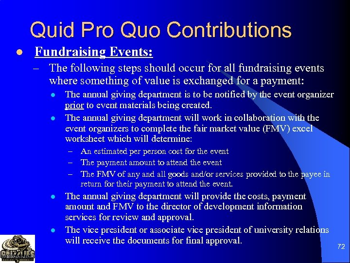 Quid Pro Quo Contributions l Fundraising Events: – The following steps should occur for