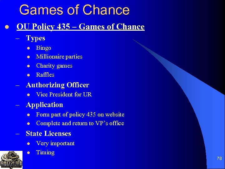 Games of Chance l OU Policy 435 – Games of Chance – Types l