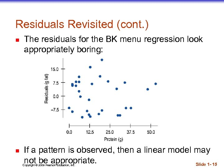 Residuals Revisited (cont. ) n n The residuals for the BK menu regression look