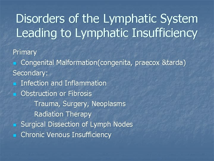 Disorders of the Lymphatic System Leading to Lymphatic Insufficiency Primary n Congenital Malformation(congenita, praecox