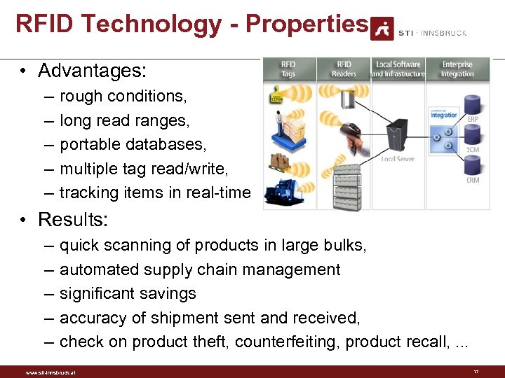 RFID Technology - Properties • Advantages: – – – rough conditions, long read ranges,