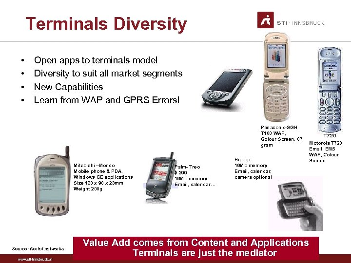 Terminals Diversity • • Open apps to terminals model Diversity to suit all market