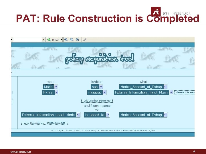 PAT: Rule Construction is Completed www. sti-innsbruck. at 40