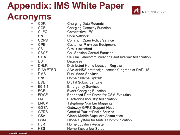 Appendix: IMS White Paper Acronyms • • • • • • • www. sti-innsbruck.