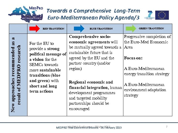 Towards a Comprehensive Long-Term Euro-Mediterranean Policy Agenda/3 New approaches recommended as a result of