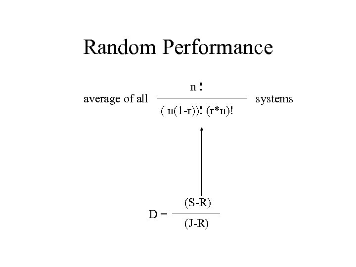 Random Performance average of all n! ( n(1 -r))! (r*n)! D= (S-R) (J-R) systems