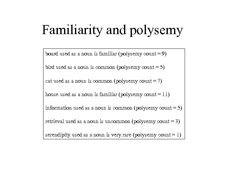 Familiarity and polysemy board used as a noun is familiar (polysemy count = 9)