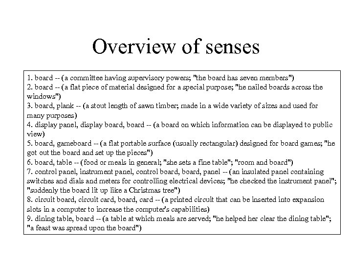 Overview of senses 1. board -- (a committee having supervisory powers;