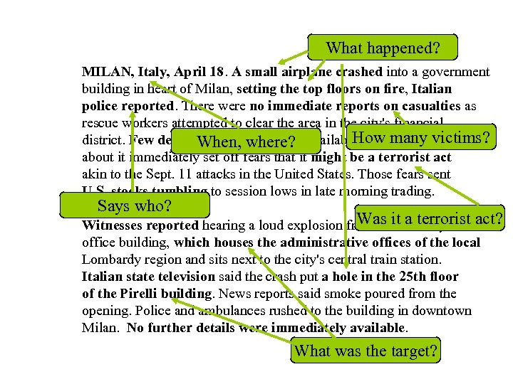 What happened? MILAN, Italy, April 18. A small airplane crashed into a government building