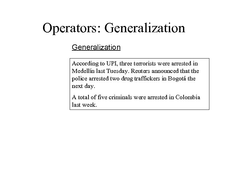 Operators: Generalization According to UPI, three terrorists were arrested in Medellín last Tuesday. Reuters