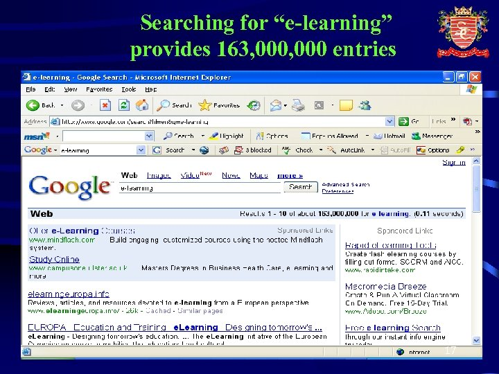 """Searching for """"e-learning"""" provides 163, 000 entries 17"""
