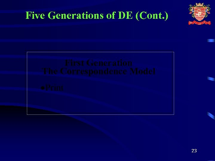 Five Generations of DE (Cont. ) First Generation The Correspondence Model ·Print 23